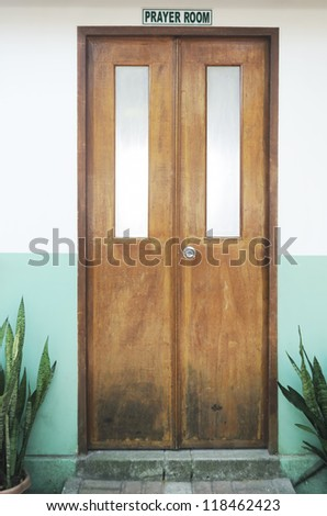 Closed prayer room door inside a private school, Philippines