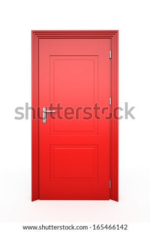closed red door  isolated on...