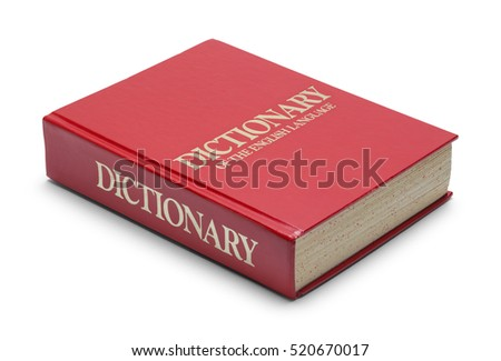 Closed Red English Dictionary Isolated on White Background.