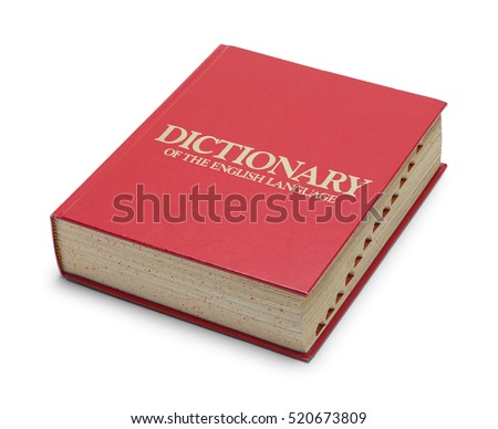 Closed Red English Dictionary with Tabs Isolated on White Background.