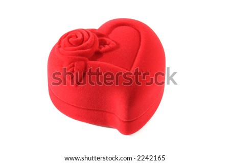 Closed red heart-shaped jewelry gift box Valentine concept isolated with clipping path on white background