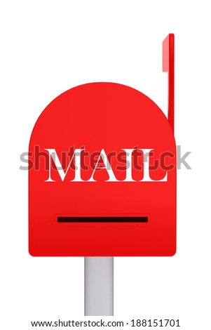 Closed red mail box on a white background