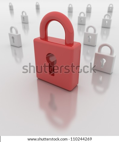 Closed red padlock foreground, white padlocks background. Depth of field. Reflections. Easy to change color of main padlock in photo editors.