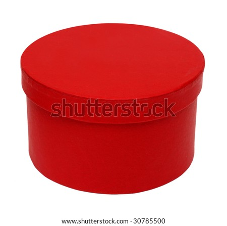 closed red round box isolated on white
