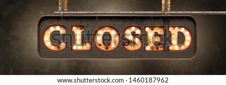CLOSED - retro bulb light signboard - banner