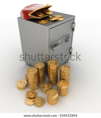 closed safe with dollars and purse on white background