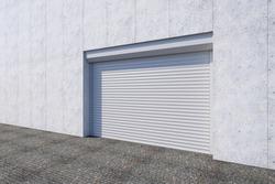 Closed shutter door or roller door on gate building, 3d rendering