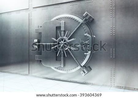Closed steel bank vault door. 3D Render - Shutterstock ID 393604369