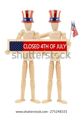 Closed 4th of July Sign Mannequins… Stock Photo 275248328