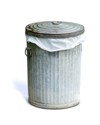 Closed trashcan with plastic bag inside , top standing besides, isolated on white background. This has clipping path.