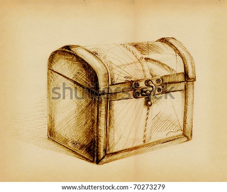 Closed Treasure Chest, In Pencil Stock Photo 70273279 ...