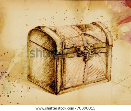 Closed Treasure Chest, In Pencil Stock Photo 70390015 ...