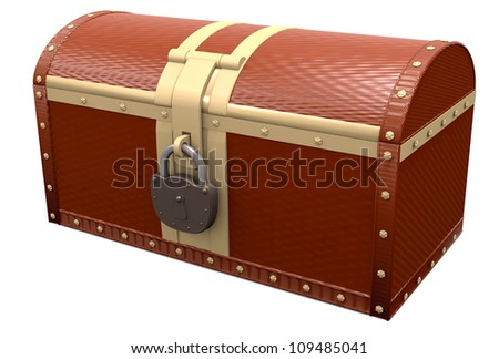 Closed treasure chest over white, 3d illustration