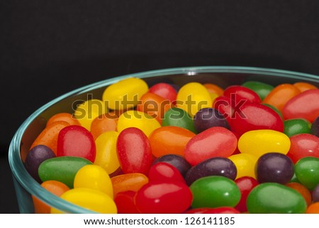 Closed up bowl of assorted jelly beans