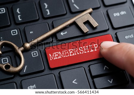 Closed up finger on keyboard with word MEMBERSHIP Stock photo ©