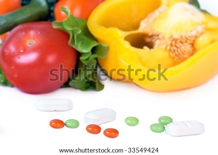 Closed up healthy vegetables and antibiotics