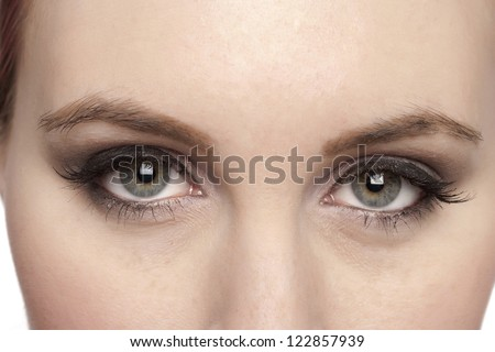 Closed up lovely gray eyes of a Caucasian woman - Shutterstock ID 122857939