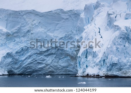 Closed up shot of ice glaciers in antarctic