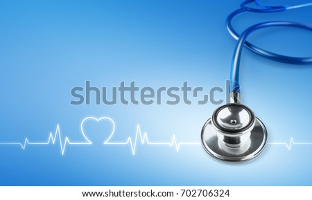 closed up stethoscope and heartbeat ready for treat patients in a hospital