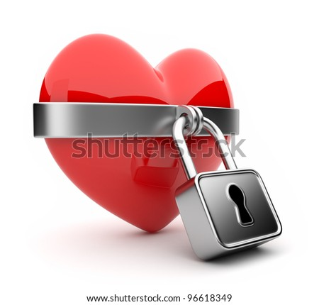 Closed valentine heart and lock 3D. Isolated on white background