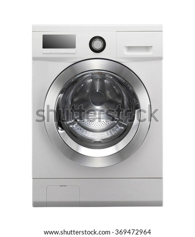 Closed washing machine on white background #369472964