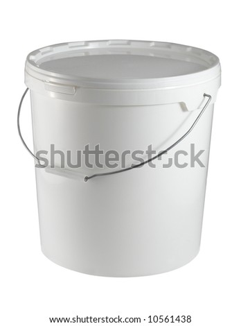 Closed white plastic container (with clipping path for easy background removing if needed)