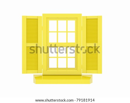 Closed window and shooters on white isolated background. 3d - stock photo