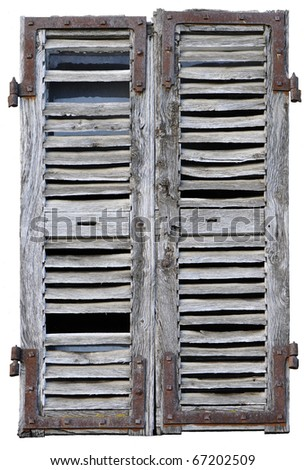 Closed window with old wood shutters on a white background