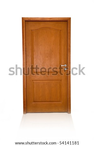 Closed wood door isolated