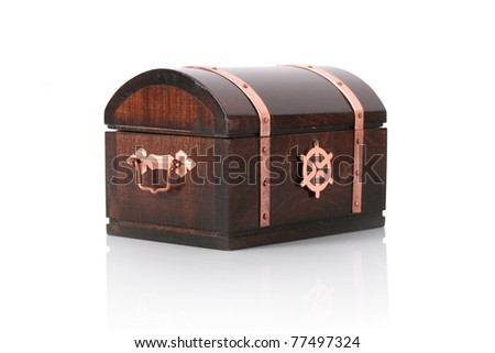 Closed wooden chest with reflection, isolated on white
