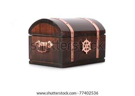 Closed wooden chest with shadow, isolated on white