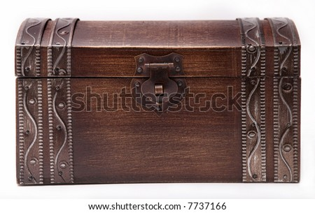 Closed Wooden Treasure Chest with Metal Clasp