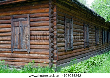 closed wooden windows of old rural house