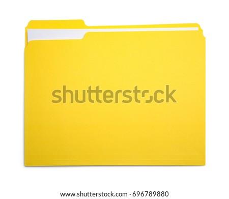 Closed Yellow File Folder Isolated on White Background. #696789880