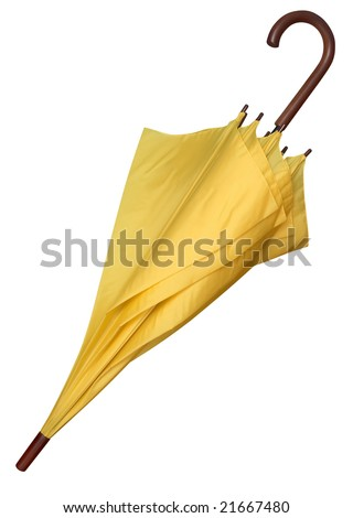 Closed yellow umbrella isolated on white background. Clipping path.