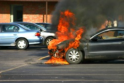 Closer Look at a Car on Fire.