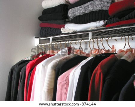 """Closet full of clothes: """"nothing to wear"""" - stock photo"""