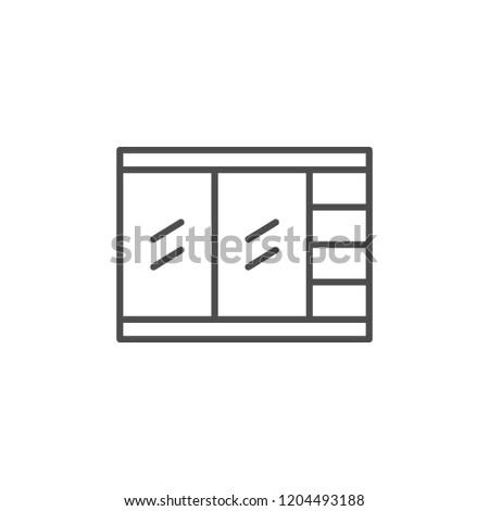Closet line icon isolated on white