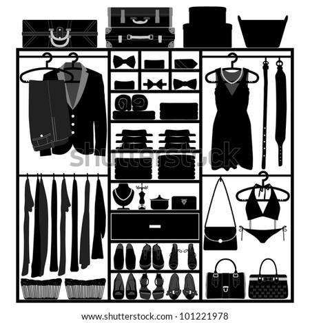 Closet Wardrobe Cupboard Cloth Accessories Man Woman Fashion Wear Silhouette