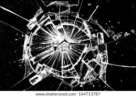 closeup abstract broken cracked glass
