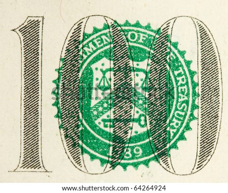 closeup abstract of $100 bill in US currency