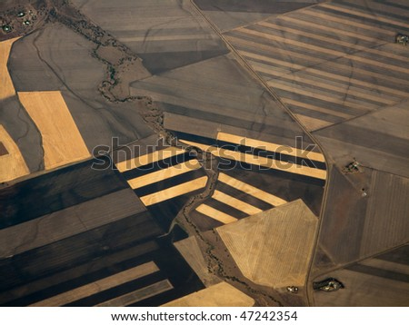 Closeup Aerial view of crop patterns of fields in Queensland Australia's Fertile Plains