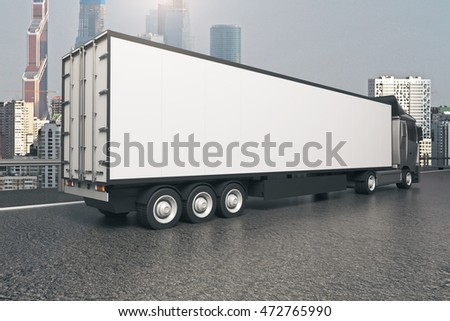 Closeup and side view of empty black truck trailer on modern city background. Mock up, 3D Rendering