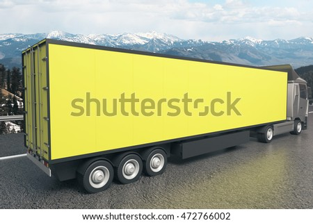 Closeup and side view of empty yellow truck trailer on landscape background. Mock up, 3D Rendering #472766002