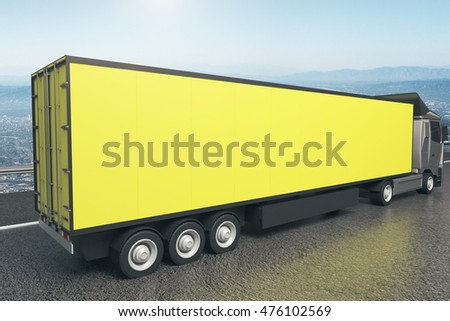 Closeup and side view of empty yellow truck trailer on landscape background. Mock up, 3D Rendering #476102569
