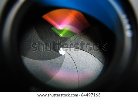 closeup aperture blades with reflection flares of prime lens