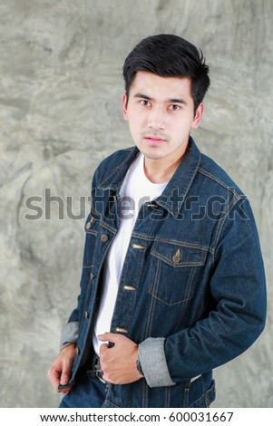 Free Photos Closeup Asian Man Casual Outfits Standing In Jeans And