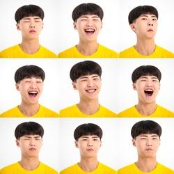 closeup asian teenager boy with different facial expression face set