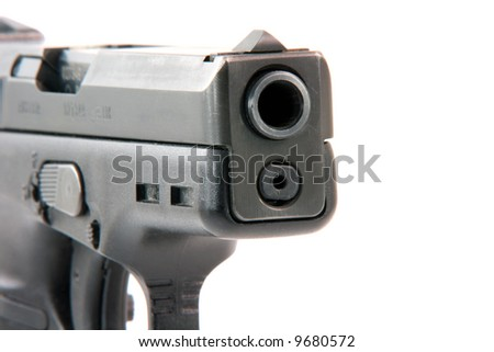 closeup automatic handgun isolated on white background weapons arms