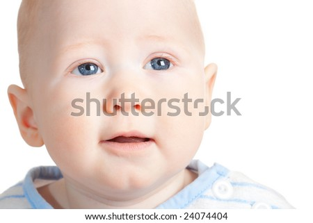 closeup baby boy portrait, white background